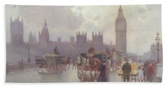 The Houses Of Parliament From Westminster Bridge Beach Towel by Alberto Pisa