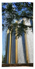 The Houston Water Wall And Williams Tower Beach Towel