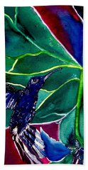 The Hummingbird And The Trillium Beach Towel