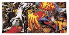 The Hundred Years War  The Struggle For A Crown Beach Towel by Pat Nicolle