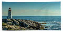 The Iconic Lighthouse At Peggys Cove Beach Sheet by Ken Morris