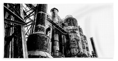 The Industrial Age At Bethlehem Steel In Black And White Beach Sheet by Bill Cannon