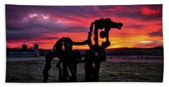 The Iron Horse Sun Up Beach Towel by Reid Callaway