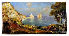 Beach Towel featuring the painting The Island Of Capri And The Faraglioni by Rosario Piazza