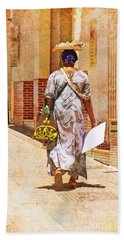 Beach Towel featuring the photograph The Jewelry Seller - Malaga Spain by Mary Machare