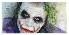 The Joker Watercolor Beach Towel