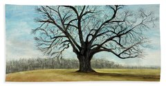 Beach Towel featuring the painting The Keeler Oak by Lyric Lucas
