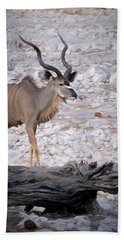 Beach Towel featuring the digital art The Kudu In Namibia by Ernie Echols