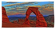 Beach Towel featuring the photograph The La Sal Mountains And Arch by Scott Mahon