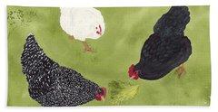 The Ladies Love Salad Three Hens With Lettuce Beach Towel
