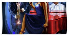 The Lady Jazz Singer Beach Towel
