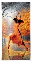 The Last Dance Of Autumn - Fantasy Art  Beach Towel