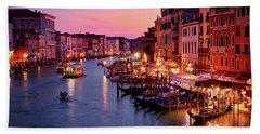 The Blue Hour From The Rialto Bridge In Venice, Italy Beach Towel