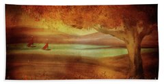 Beach Sheet featuring the digital art The Last Sail Of The Season  by Lois Bryan