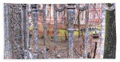 The Lattice Of The Old Garden Beach Sheet by Yury Bashkin