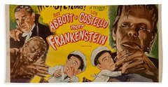 The Laughs Are Monsterous Abott An Costello Meet Frankenstein Classic Movie Poster Beach Sheet
