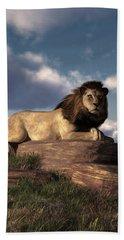Beach Towel featuring the digital art The Lazy Lion by Daniel Eskridge