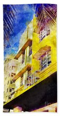 The Leslie Hotel South Beach Beach Towel by Jon Neidert