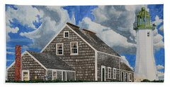 Beach Towel featuring the painting The Light Keeper's House by Dominic White