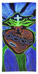 Beach Towel featuring the drawing The Light Of The Sacred Heart by Lisa Brandel