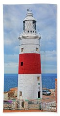 The Lighthouse At Europa Point Beach Towel