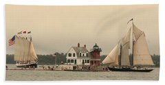 The Lighthouse At Rockland Beach Towel