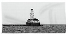 The Lighthouse Black And White Beach Sheet