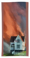 Beach Towel featuring the digital art The Lighthouse Keeper's House by Lois Bryan