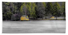 Beach Towel featuring the photograph The Lighthouse On Frozen Pond by David Patterson