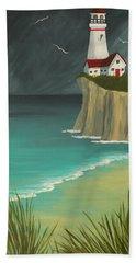 The Lighthouse On The Cliff Beach Towel