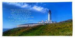 The Lighthouse On The Mull With Poem Beach Towel
