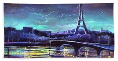 The Lights Of Paris Beach Sheet by Randy Burns