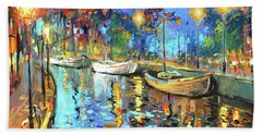 Beach Sheet featuring the painting The Lights Of The Sleeping City by Dmitry Spiros