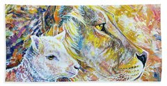 The Lion And The Lamb Beach Towel