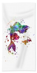 The Little Mermaid Watercolor Art Beach Towel