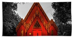 The Little Red Church In Black And White Beach Towel