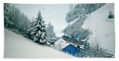 Beach Towel featuring the photograph The Little Red Train - Winter In Switzerland  by Susanne Van Hulst