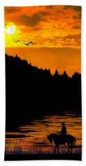 The Lonesome Cowboy Beach Towel by Diane Schuster
