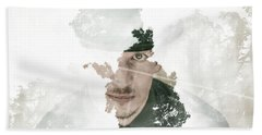 The Looking Glass Forest Man Beach Towel