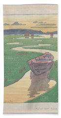 Beach Towel featuring the painting The Lost Boat , Arthur Wesley Dow by Artistic Panda