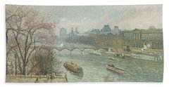 The Louvre, Afternoon, Rainy Weather, 1900  Beach Towel