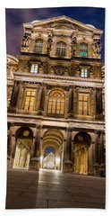 The Louvre Museum At Night Beach Towel