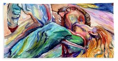 The Lovers Watercolor Beach Towel
