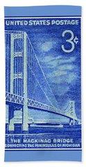 The Mackinac Bridge Stamp Beach Towel by Lanjee Chee
