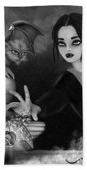 The Magic Rose - Black And White Fantasy Art Beach Sheet