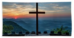 The Magnificent Cross Pretty Place Chapel Greenville Sc Great Smoky Mountains Art Beach Towel