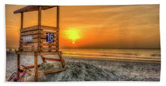 Beach Towel featuring the photograph The Main Attraction Tybee Island Sunrise Lifeguard Stand Beach Art by Reid Callaway