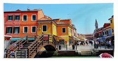 The Main Street On The Island Of Burano, Italy Beach Towel