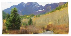 Beach Towel featuring the photograph The Maroon Bells Reimagined 3 by Eric Glaser