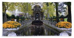 The Medici Fountain At The Jardin Du Luxembourg In Paris France. Beach Towel